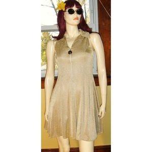 Vintage Dresses - 💛VTG Fit & Flare Gold Glitter Mini Skater Dress